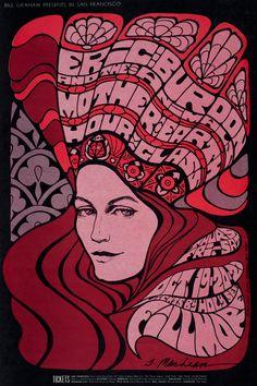 Eric Burdon & the Animals/Mother Earth/Blue Cheer, October 19-21, 1967 - Fillmore Auditorium (San Francisco, CA) Art by Bonnie MacLean