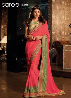 PINK GEORGETTE SAREE WITH LACE WORK