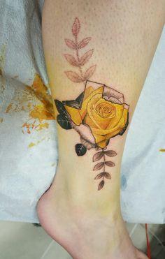 Yellow rose of Texas- Moon Tattoo studio, Austin, TX