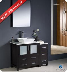"42"" Fresca Torino (FVN62-3012ES-VSL) Modern Bathroom Vanity w/ One Side Cabinet & Vessel Sink - Espresso #Fresca #HomeRemodel #BathroomRemodel #BlondyBathHome #BathroomVanity"