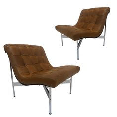 Pair of 'New York' Architectural Group One Lounge Chairs by Katavolos, Littell and Kelley for Laverne Intl ca.1952. New calfskin.