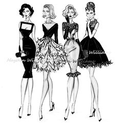 Hayden Williams Fashion Illustrations: Iconic Women collection by Hayden Williams: Liz, Grace, Marilyn & Audrey