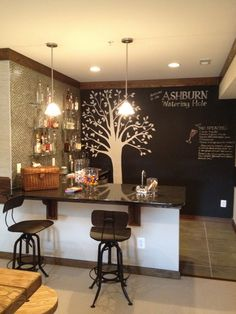 Finished basement bar...I like the chalkboard paint idea
