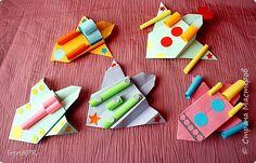 Мастер-класс Поделка изделие День космонавтики Оригами Космолеты ко Дню Космонавтики Бумага фото 1