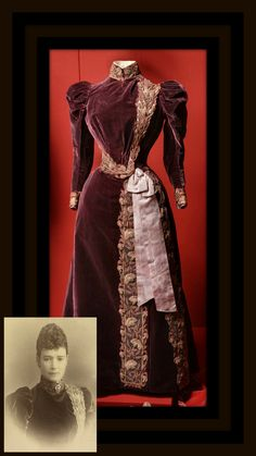 Dress belonging to Empress Maria Fyodorovna, designed by Charles Worth, Paris, 1890s. Velvet, silk and metal thread, moiré ribbon. The State Hermitage Museum (link: http://www.hermitage.guide/costume/costume1.html). Inset: Photo of Maria Fyodorovna wearing the same dress. Albumen print by A. Pasetti, St. Petersburg, 1895. Royal Collection Trust/© Her Majesty Queen Elizabeth II 2016. CLICK FOR LARGER IMAGES.