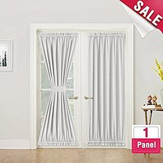 Grey French Door Curtains Blackout Patio Door Door Window Curtain for Privacy Tie Back Included 1 Panel W52 x L40-Inch