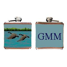 Our Canada Goose needlepoint wallet, is a tasteful and perfect gift for the any wildlife enthusiast! Free Monogram, Needlepoint Designs, Flasks, Design Your Own, Canada Goose, Coin Purse, Wildlife, Stainless Steel, Deep