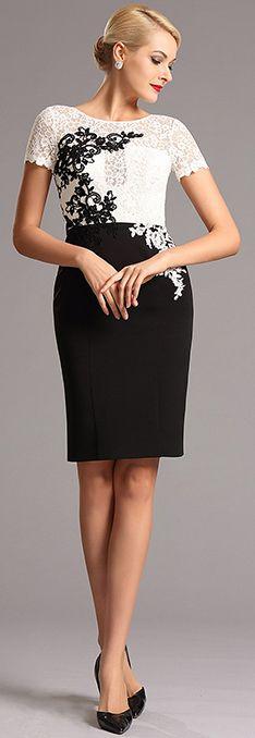 White &black short dress!