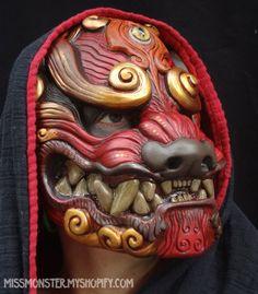Red Komainu mask by ~missmonster on deviantART