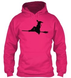 Hoodie Witch Riding Flying Broom Heliconia T-Shirt Front