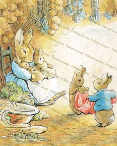Beatrix Potter, Bunny, Mother Rabbit, Peter Rabbit , Mother's day, Easter bunny, Benjamin Bunny, Baby room wall decor, Prints, Art posters on Etsy, $2.25