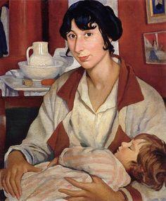 Zinaida Serebriakova - Portrait of A.A. Cherkesovoy-Benoit and her son Alexander (1922)
