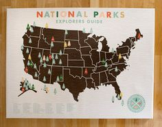 National Parks Checklist Map Print on Canvas. $95.00, via Etsy.