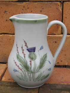 Vintage Buchan - Scotland thistleware pottery pitcher, about tall. This has some soil marks to the bottom as shown, but looks very good overall, no chips or cracks. Pottery Plates, Ceramic Pottery, Scotland National Flower, Nice Jugs, Thistles, Scottish Thistle, Blue And White China, My Heritage, Vintage Country