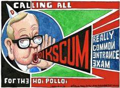 4 February 2014 - Steve Bell's usual 'smart' cartoon style referencing Gove's policies.
