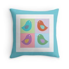 Birds - Throw Pillow Cover - Pastel - http://annumar.com/en/designs/birds-throw-pillow-cover-pastel