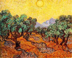 Vincent Van Gogh Ulivi con cielo giallo e sole, 1889