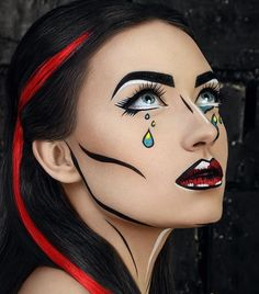Halloween make up ideas? You came to the right place. If you're thinking about upgrading your make up game for the fright night, there is plenty of inspiration for pretty Halloween make up… Pop Art Costume, Costume Makeup, Sfx Makeup, Pop Art Halloween Costume, Makeup Lips, Comic Costume, Makeup Brushes, Makeup Tools, Comic Book Costumes