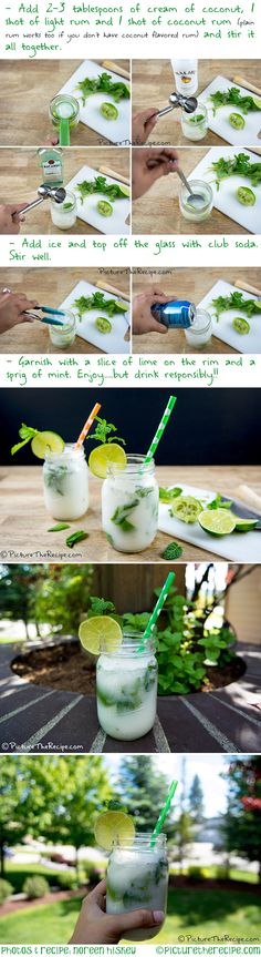 Nothing says summer like this mojito cocktail with a tropical twist! It's finally warming up here in the Pacific Northwest. Bacardi Mojito, Mojito Cocktail, Cocktail Mix, Refreshing Cocktails, Easy Cocktails, Summer Cocktails, Coconut Mojito, Coconut Rum, Liquor Drinks