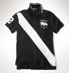 Ralph Lauren Classic-Fit Match Striped Polo Black/White