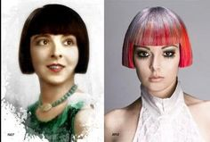 The Dutch boy was a popular children's haircut until silent movie star Colleen Moore turned it into a big-girl style. Left: 1927 Colleen Moore.. Right: 2012 Brig Van Osten's darling update!