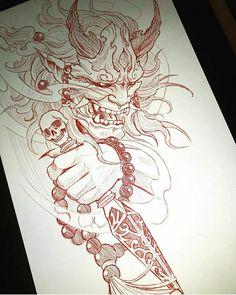 Skull Sleeve Tattoos, Tattoo Sleeve Designs, Body Art Tattoos, Raijin Tattoo, Hannya Tattoo, Hanya Mask Tattoo, Japan Tattoo Design, Japanese Tattoo Designs, Japanese Demon Tattoo