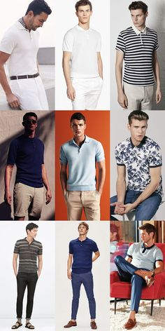 2015 Spring/Summer Recommended Wardrobe Additions: Printed Or Knitted Polo Shirt… Polo Shirt Style, Polo Shirt Outfits, Polo Outfit, Summer Outfits Men, Stylish Mens Outfits, Daily Fashion, Mens Fashion, Fashion Outfits, Fashion Trends
