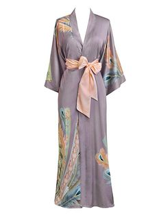 de9651d440d Old Shanghai Women s Kimono Robe Long - Watercolor Floral