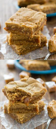 Caramel Peanut Butter Cookie Bars: soft caramel layered between layers of peanut butter cookie bars!