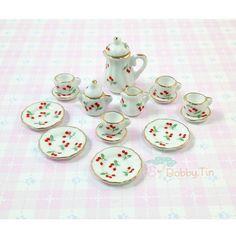Miniature Tea Set  teapot teacup high tea dollhouse by BobbyTin