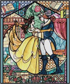 DISNEY+BEAUTY+AND+THE+BEAST+STAINED+GLASS+CROSS+STITCH+PATTERN+PDF+ONLY
