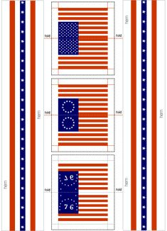Printable Dollhouse Accessories | Printable Miniature US Flags and Bunting