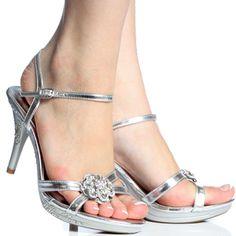 Silver Rhinestone Evening Bridal Wedding High Heel Sandal Womens ...
