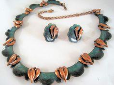 Matisse Necklace Earrings  Unsigned Queen Anne   Teal Enamel