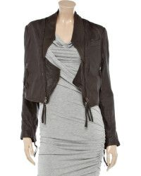 Twenty8twelve Claudia Cropped Washed-leather Jacket in Gray (brown) | Lyst....unzipped show its symmetry.... pERRY