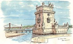 https://flic.kr/p/a7iUrg | torre belem, lisboa | Back from Lisbon! Back from London! Lots and lots of scanning to do... but not yet. First we rest for five minutes.   In the meantime, here is a drawing I did on the day before the Symposium of the famous Torre Belem, one of Lisbon's most famous landmarks. I sketched it in the late afternoon while in the Belem district with Jason Das from Brooklyn. It was pretty windy down there by the Tagus.  <a…