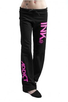 "These wide leg sweats are lightweight boxy fit and feature a soft fleece interior with metal eyelets and drawstring for tightening. A trendy graphic ""INK"" printed high on the left leg and ""ADDICT"" printed lower on the right leg is available in five color combinations. Pair these women's InkAddict sweatpants with some of the other tattoo clothing such as a graphic v-neck or thermal hoodie. #iconicthreads #sweatpants #inkaddict #pink #womens #comfy #black"