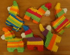 """30 Miini Donkey piñatas 6""""x6""""x2""""for a fiesta party as a centerpiece or party favor to fill with candy instead of goody bag Cinco de Mayo"""