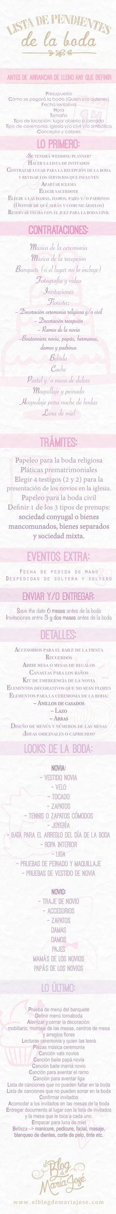 ¡Qué no te falte nada para el gran día! Checa esta lista de pendientes para la boda #bodas #ElBlogdeMaríaJosé #ListaPendientesBoda