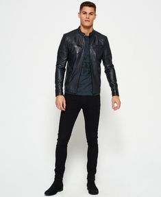 Shop Superdry Mens Leather Quilt Racer Jacket in Black. Buy now with free delivery from the Official Superdry Store. Summer Business Casual Outfits, Casual School Outfits, Smart Casual Outfit, Black Jacket Outfit, Men's Leather Jacket, Jacket Men, Lambskin Leather, Grunge Outfits, European Fashion