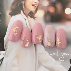 Modest, pink, pearl - New Ideas Trendy Nail Art, Cute Nail Art, Gel Nail Art, Asian Nail Art, Asian Nails, Get Nails, Love Nails, Hair And Nails, Japanese Nail Art