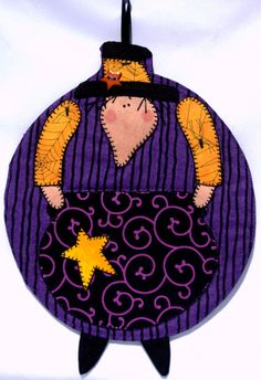 Witch and Spiders Mug Rug by QuiltinCats on Etsy, $10.50