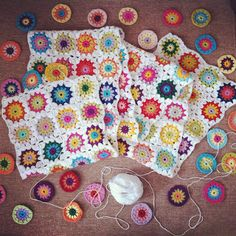 Eva's Doodlings: My BIG Taaa Daaaaaa! Art Au Crochet, Crochet Motifs, Crochet Blocks, Crochet Home, Love Crochet, Crochet Doilies, Crochet Flowers, Crochet Stitches, Knit Crochet