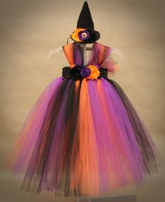 READY TO SHIP!! SET INCLUDES DRESS AND WITCH HAT!! Baby Girl Special Occasion Tutu Dress with matching Headband.