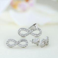 Set bijuterii argint Infinit cu pietre  - ICS0051 Stud Earrings, Jewelry, Jewlery, Jewerly, Stud Earring, Schmuck, Jewels, Jewelery, Earring Studs