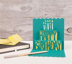 Simple Pop-up Cards Cricut cartridge -- Happy Birthday pop-up card. Make It Now with the Cricut Explore machine in Cricut Design Space.