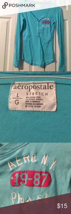 Aeropostale Henley tee Light blue Aeropostale button up henley tee. Super soft and cozy. The one sleeve has Aeropostale write down it in white. Aeropostale Tops Tees - Long Sleeve