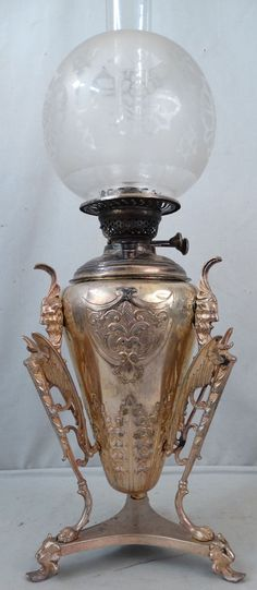 Antique 19thC Victorian WINGED GRIFFIN Old SILVER Over COPPER Oil BANQUET LAMP…