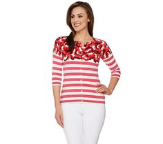 Isaac Mizrahi Live! Engineered Floral Striped Cardigan - A273646 — QVC.com