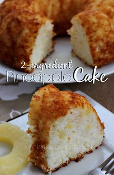 This Pineapple Cake only takes 2 ingredients and is extremely light & moist. Wonderful topped with Cool Whip for a cool, light summer dessert.